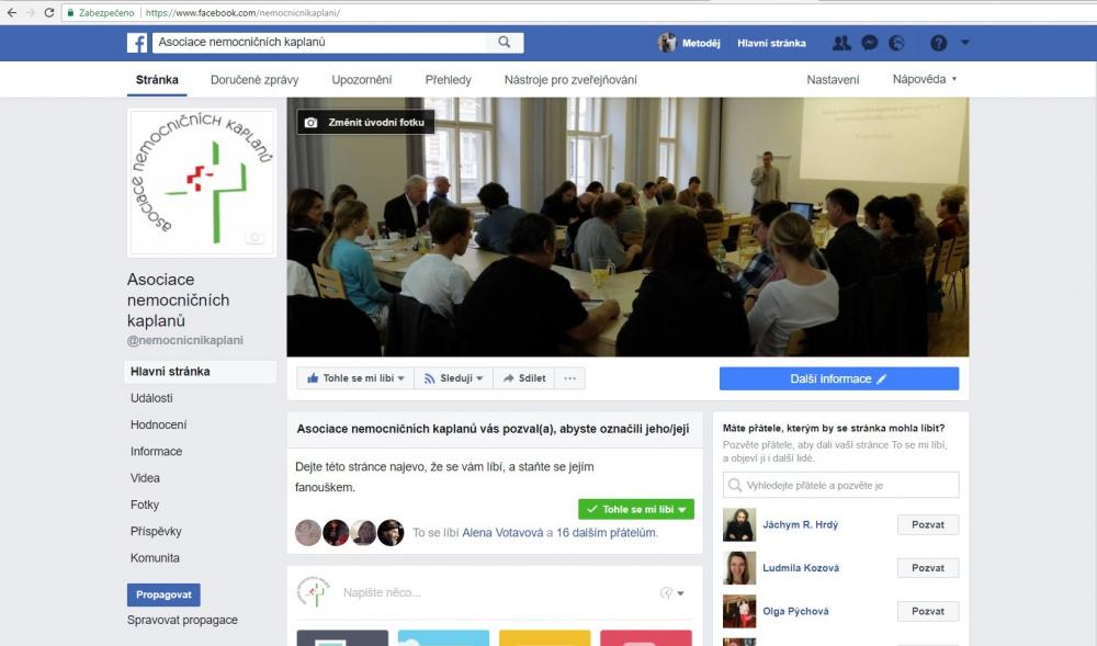 Facebookové stránky Asociace nemocničních kaplanů